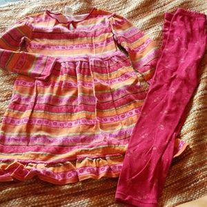 Gymboree size 8 girls ruffle dress leggings outfit